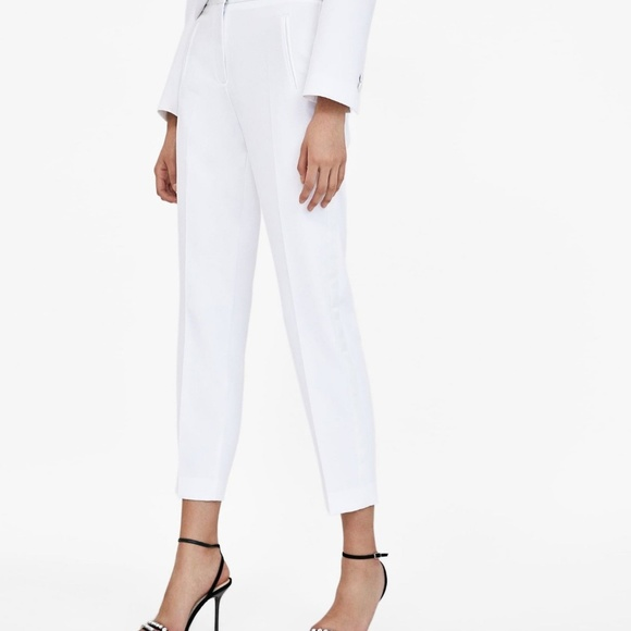 0a3b44cd63cd66 Zara Tuxedo Trousers Pants XS White Ankle 2172 691